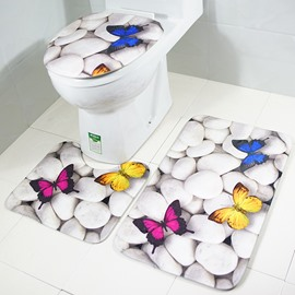 Butterfly on Pebbles 3-Piece Toilet Seat Cover