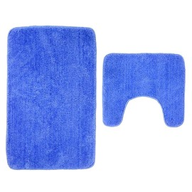 Solid Color Microfiber Mat Bathroom Anti-skid Absorbent 2-Piece Carpet