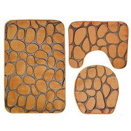 3D Pebble Toilet Mat 3-Piece Toilet Seat Cover