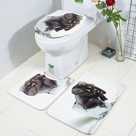 Elephant Printed Floor Mat Toilet Seat 3-piece