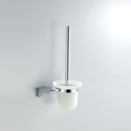Chrome Finish Contemporary Style Brass Toilet Brush Holder