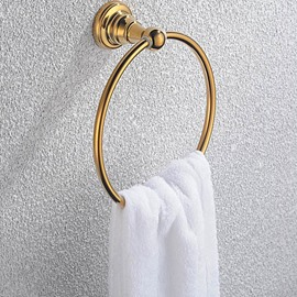 Contemporary Ti-PVD Finish Bathroom Accessories Brass Round Towel Ring