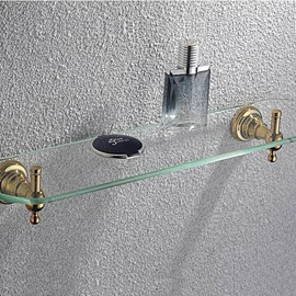 Ti-PVD Finish Bathroom Accessories Shelf Glass Satin