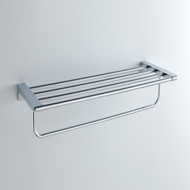 Chrome Finishd Solid Brass 24 Inch Bathroom Shelf With Towel Bar