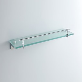Contemporary Solid Brass Wall Mount Silver Glass Shelf-Chrome Finish with holder