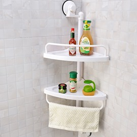 Space Saving Strong Suction Two Layers Bathroom Shelves
