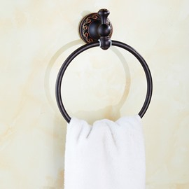 Contemporary Wall Mounted Black Copper Round Towel Ring