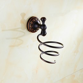 Contemporary Wall Mounted Black Copper Hair Drier Holder