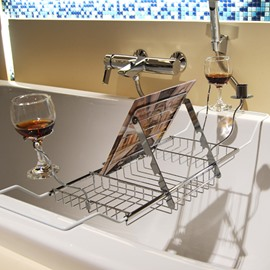 Expandable Chrome Finish Contemporary Style Bathtub Rack