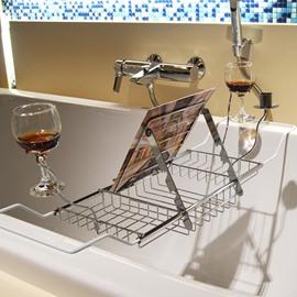Expandable Chrome Finish Contemporary Style Bathtub Rack