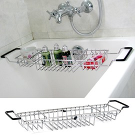 Adjustable Chrome Finish Contemporary Style Bathtub Rack