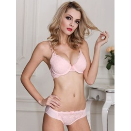 Solid And Sexy Hollow Floral Design Charming Bra Undewear Sets