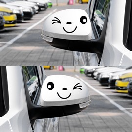 Bright Smiling Face with Winking Eyes Car Rear Mirrors Stickers