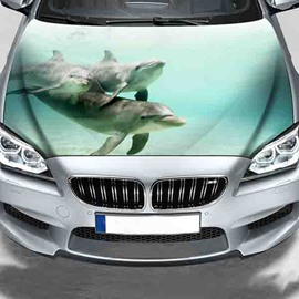 Cute Dolphins In The Water Printing Customized Waterproof PVC Car Engine Sticker