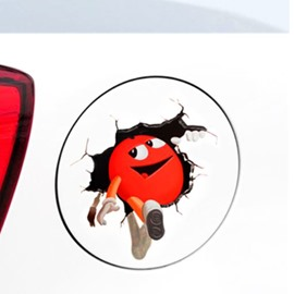Red Cute Egg Running Out 3D Creative Car Stickers