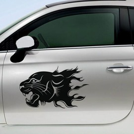 Wrathful Look of Tiger with Fire Car Sticker