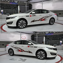 Cool Sport Line Flower Design Popular Single Car Sticker