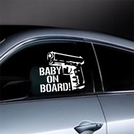 Cool Gun And Letter Pattern Waterproof Scratch Proof Car Sticker