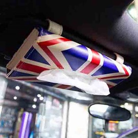British Style PU Leather Box Tissue Holder Car Sun Visor