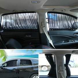 2 x 70s Car Interior Adjustable Window Curtain
