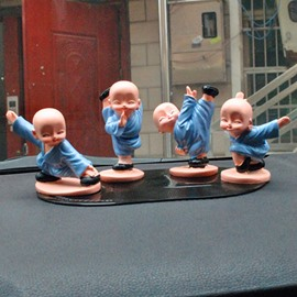Four Little Kong Fu Monks Funny Car Decor