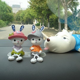 One Cute Couple Of Rabbits Creative Car Decor