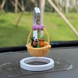 Creative Bear In Basket Cartoon Stand Car Decor