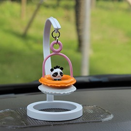Creative Panda In Swim Ring Cartoon Stand Car Decor