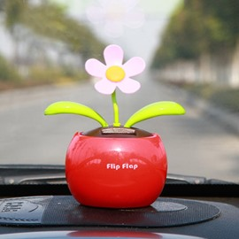 Sunflower Style And Shook Head Automatic Creative Car Decor