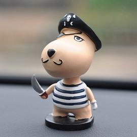 Cute Cartoon Puppy Dressed As A Robber Creative Car Decor
