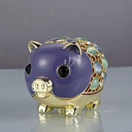 Luxurious Little Cute Pigs With Colorful Diamond Creative Car Decor