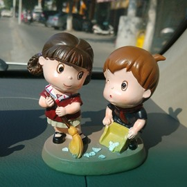 Two Cute Cartoon Characters Duty Together Car Creative Decor