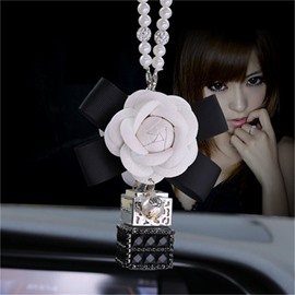 Exquisite Elegant Girly Camellia Style Pearl pendant Car Decor
