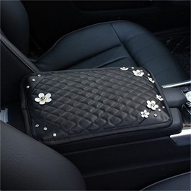 Practical Relaxing Studded Rhinestone And Artificial Flower Car Central Armrest Pad