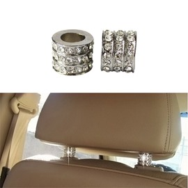 2Pieces Shiny Icy Crystal Car Pillow Holder Decoration