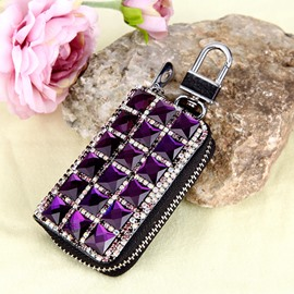 Genuine Leather Women Purple Set With Diamond Car Key Case