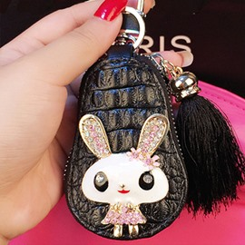 Rabbit Design Genuine Leather Women Diamond Car Zipper Key Case