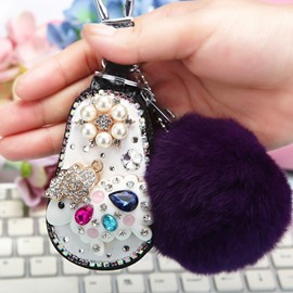 Sheep Set With Diamond Genuine Leather Women Car Zipper Key Case