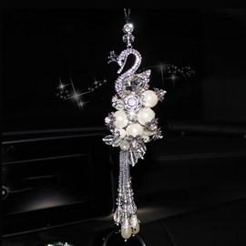 Set Auger Swan Shape Crystal Car Decoration Accessories