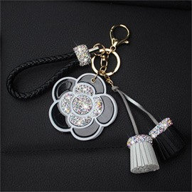 Diamond-studded Camellia Flowers Personalized Lady Car Key Ring
