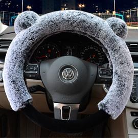 3D Panda Plain Plush 3-piece Non-slip Steering Wheel Cover