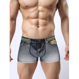 Distress Crafts Fashion Old 3D Jeans Style Design Creative Man's Briefs