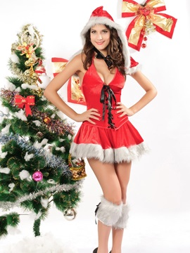 Sexy Charming Red & White Christmas Dress Costume  YM162