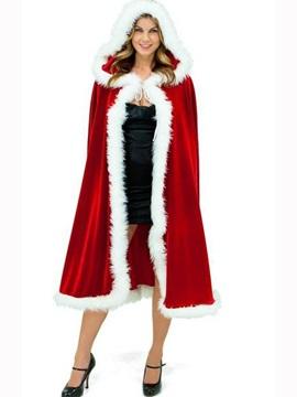 High Quality Fur Edged Red Christmas Women Cape