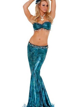 Sexy 2 Pieces Beaded Bra Mermaid Costume