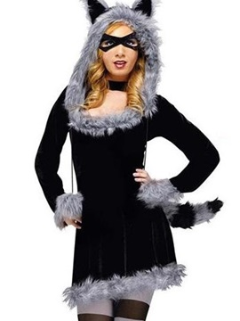 Sexy Black Fox Dress Fur Edged Costume