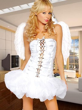 Sweet And Sexy Angel With Fluffy Straped Skirt Costume