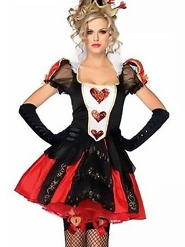 Sexy Queen Of Heart Doll Shoulder Square Neck Costume