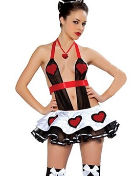 Super Sexy Queen Of Heart Open Bowknot Back Costume