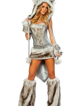 High Quality Big Tail Gray Wolf Full Set Costume